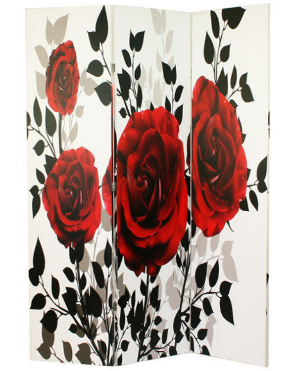 Paravan decorativ de camera cu trandafiri