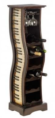 Suport pentru sticle de vin din lemn cu claviatura de pian