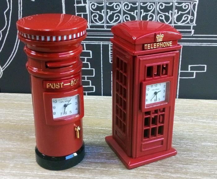ceasuri de birou in forma de cabina telefonica londoneza si cutia postala