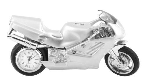 Ceas de birou in forma de motocicleta sport miniatura argintie