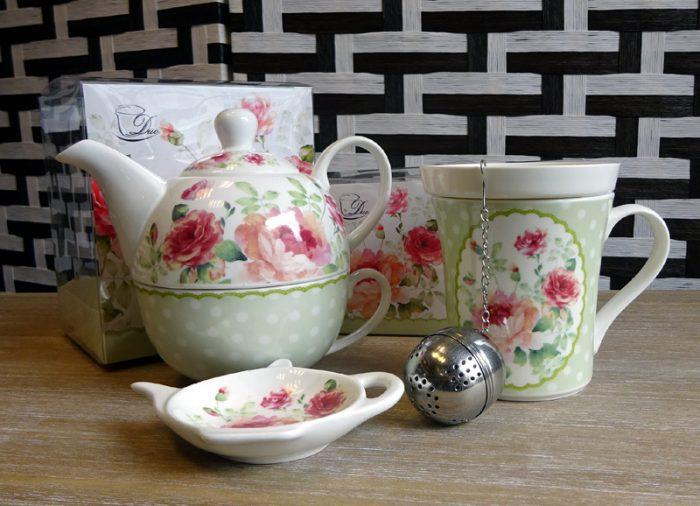 ceainic si cana cu infuzor, set de ceai verde