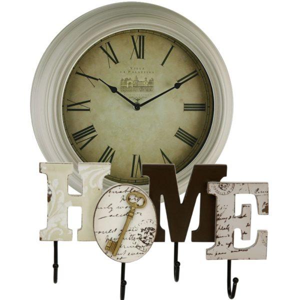 ceas de perete antichizat si cuier Home