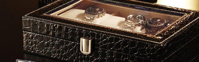 Cutie pentru 12 ceasuri din piele croco