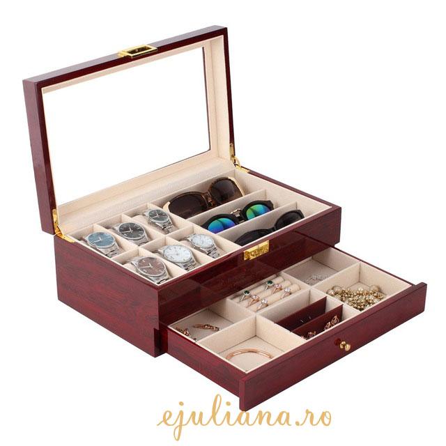 Caseta de bijuterii ceasuri organizator