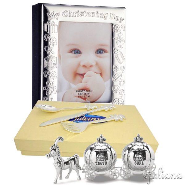 Cadou de botez argintat pentru fetita