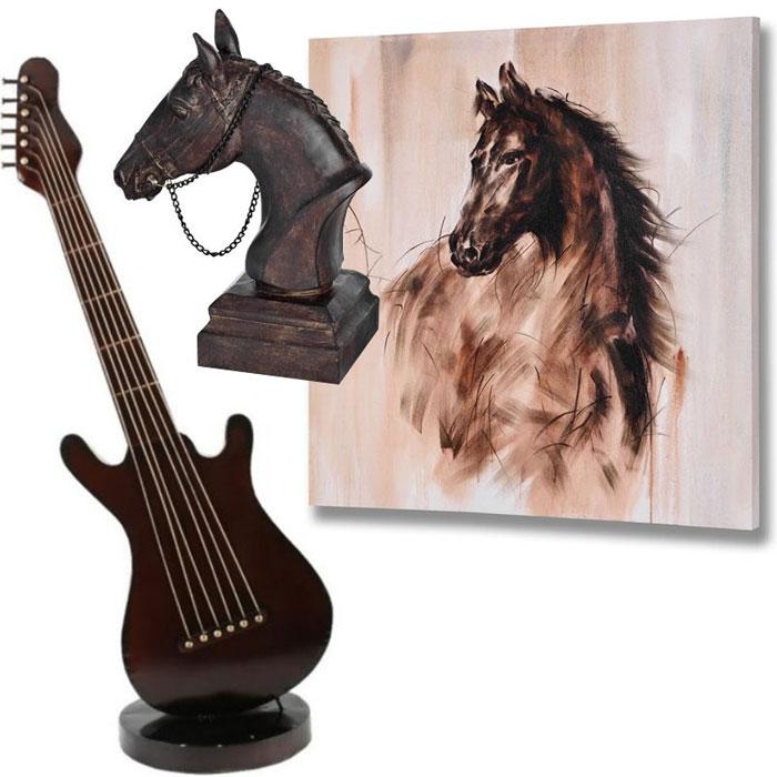 Cal bust, tablou cu cal si chitara metalica decorativa