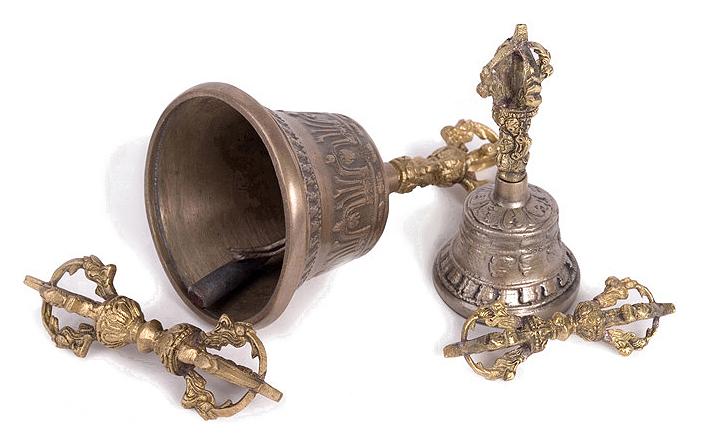 Clopotel tibetan de bronz si dorje