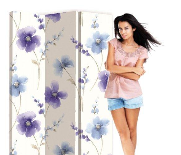Paravan decorativ cu flori albastre