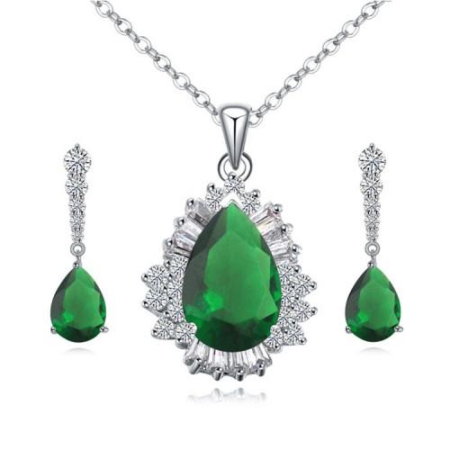 Colier si cercei cu cristal verde