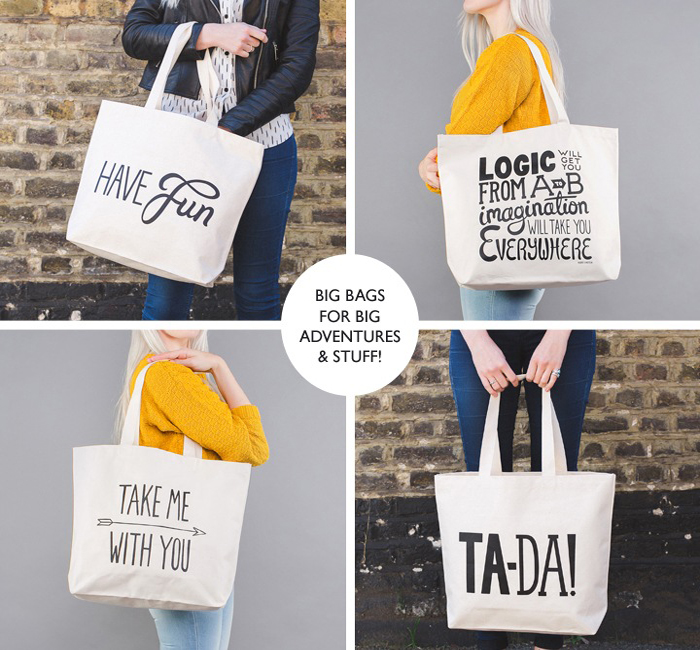 Geanta de bumbac cu mesaje Alphabet Bags