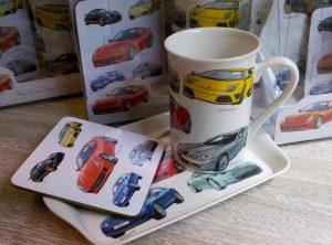 Set portelan cu cana de cafea cu masini