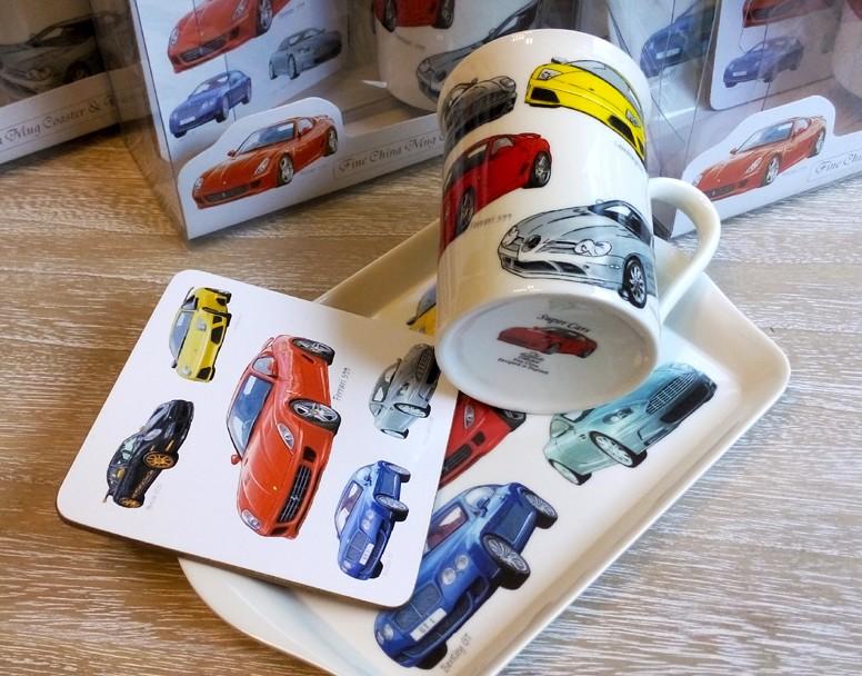 Set cadou cu cana de cafea cu masini
