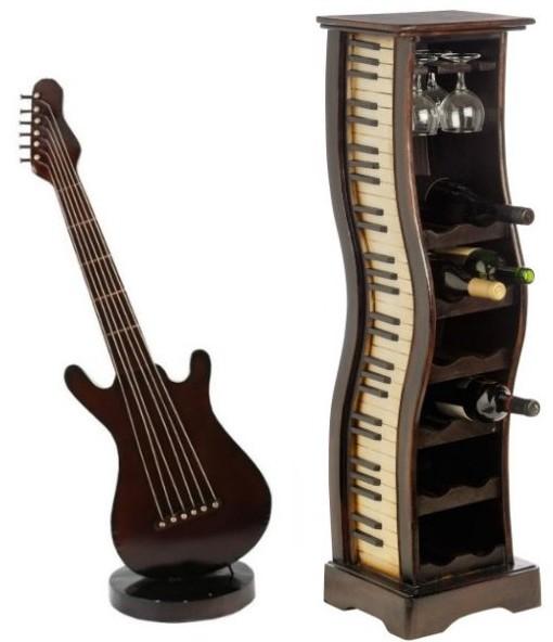 Chitara si suport pentru sticle de vin minibar cu claviatura de pian