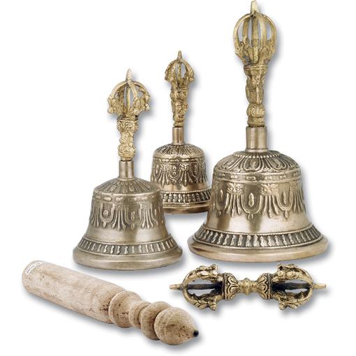 Clopotei tibetani de bronz antichizat