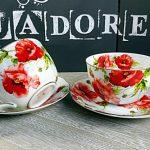 Cesti de ceai si cafea cu flori