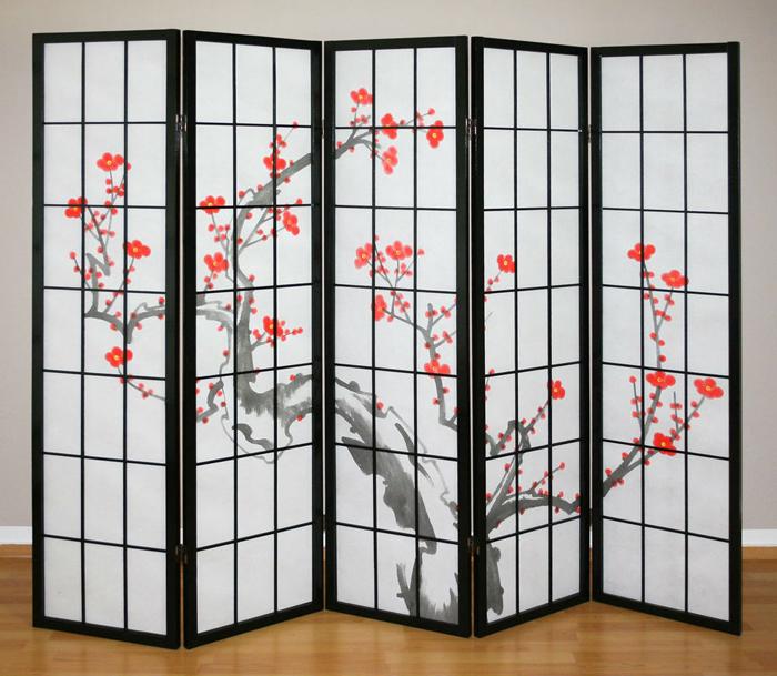 paravan decorativ shoji flori de cires