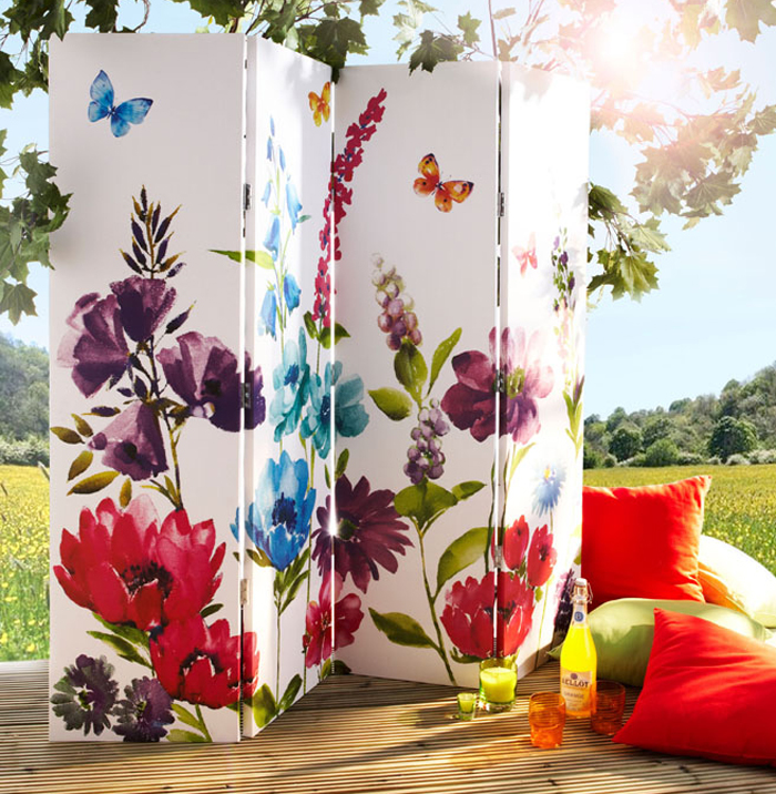 Paravan decorativ cu flori de vara