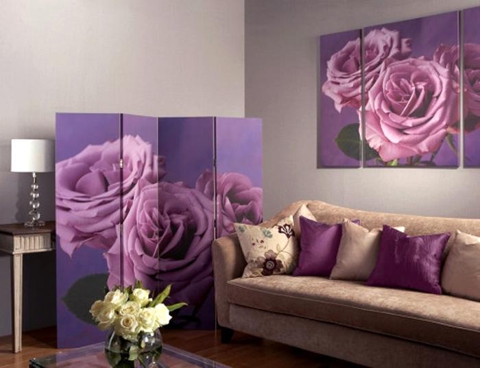 Paravan decorativ despartitor pentru interior cu trandafiri mov