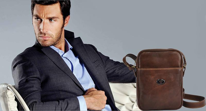 Borseta de piele maron accesorii trendy pentru barbati