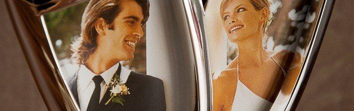 Cadou de logodna rama foto in forma de pahare de sampanie