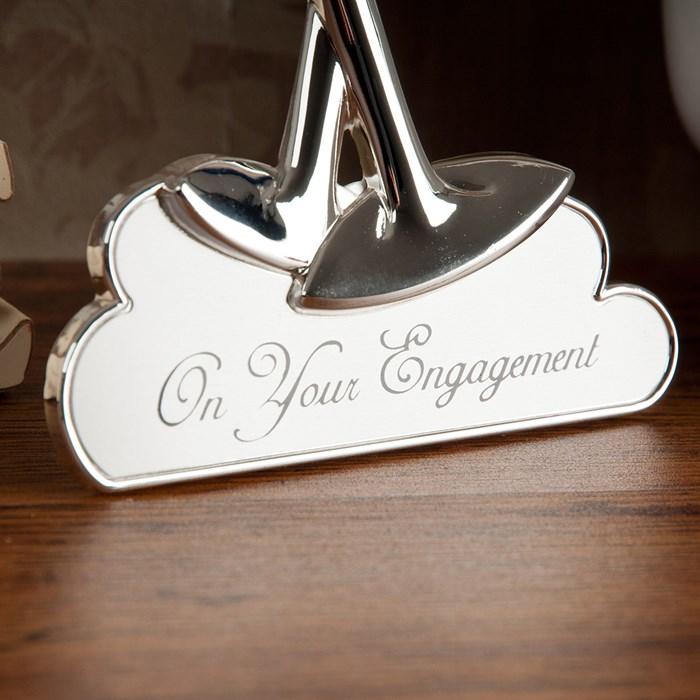 Cadou de logodna rama foto pahare de sampanie