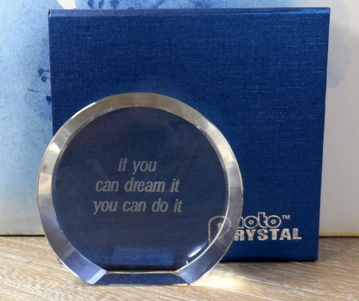 Cristal trofeu gravat cu mesaj