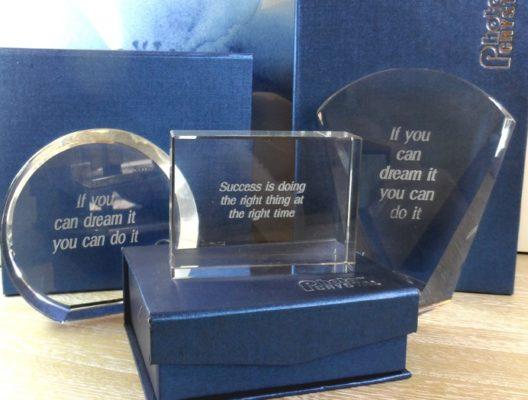 Cristale trofee gravaet cu mesaj