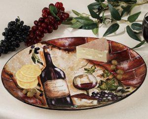 Farfurie decorativa cu sticla de vin pentru bucatarie