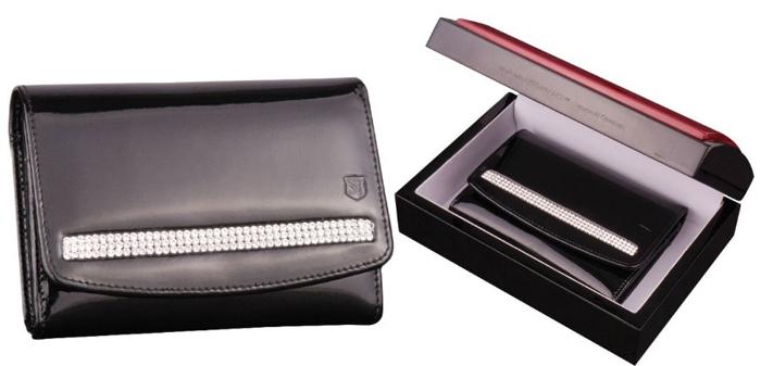 Cadouri de lux pentru femei portofel de piele negru cu cristale Swarovski