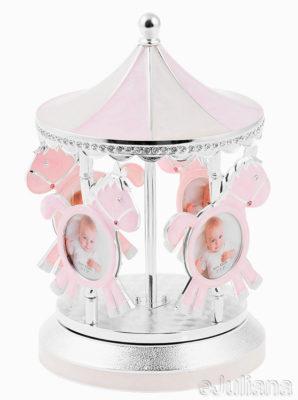 Carusel muzical argintat cu rame foto pentru fetita