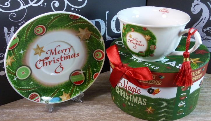 Cesti de cafea, cadouri pentru craciun, ceasca de cafea de craciun in cutie de cadou