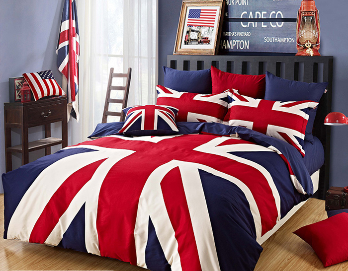 pat imens pat dublu cu lenjerie de pat cu steagul marii Britanii