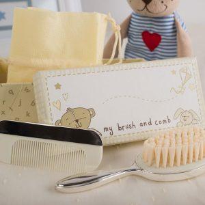 cadouri pentru bebelusi, perie si pieptene idei de cadouri pentru botez juliana, set de perie si pieptan cadou pentru bebelus
