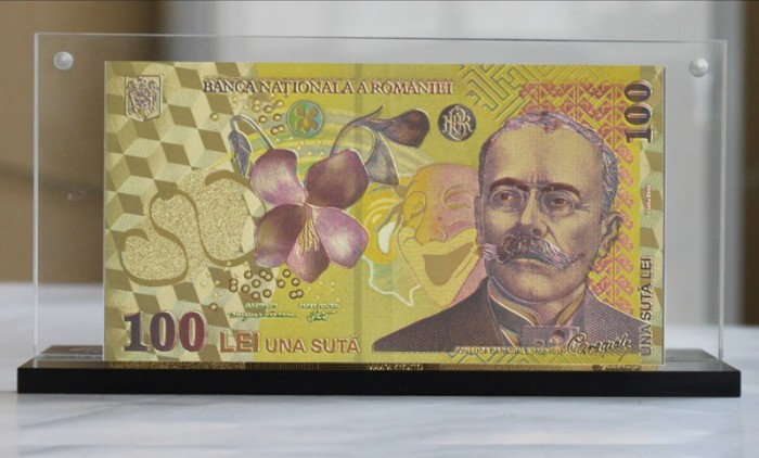 bancnota 100 de lei placata cu aur bani