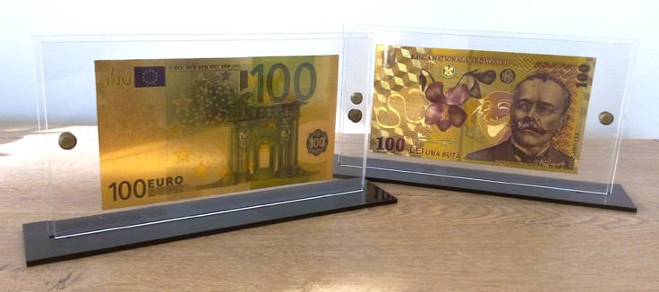 Bani cadou bancnote de 100 de euro si 100 de lei placate cu aur de 24k