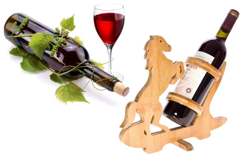 Suport de vin bambus si pahare de vin