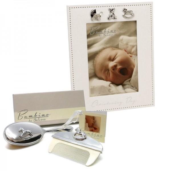 Cadou pentru bebelus rama si set perie si pieptan