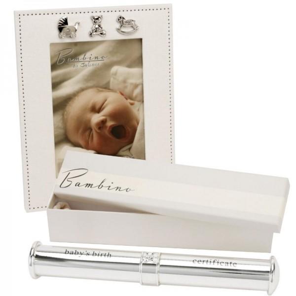 Cadou pentru bebelus suport de certificat si rama