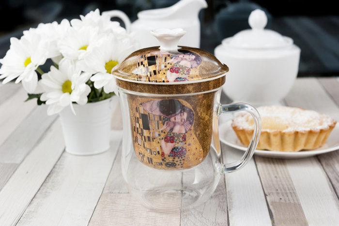Cana de ceai din yena, cu infuzor de portelan Gustav Klimt