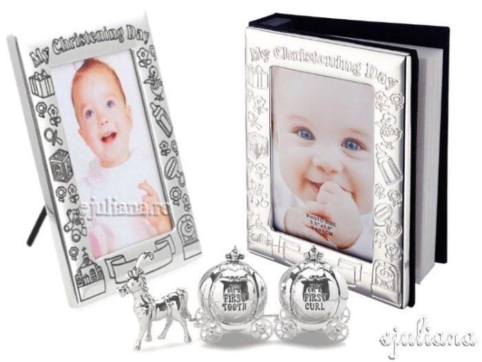 Abum si rama foto de botez impreuna cu set pentru mot si dintisor
