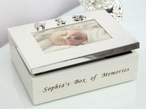 Caseta bebelusului cu rama foto, caseta pentru amintirile bebelusilor