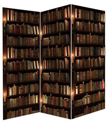 Paravan despartitor, paravan decorativ cu carti, biblioteca clasica