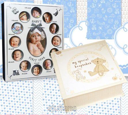 Album primul an si caseta de amintiri a bebelusului cadou pentru baietel