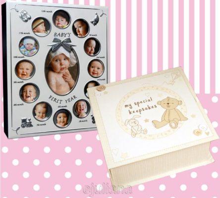 Album primul an si caseta de amintiri a bebelusului cadou pentru fetita