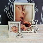 Rama pentru bebelusi cu ursulet Bambino placata cu argint