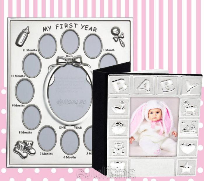 Rama pentru primul an al bebelusului si album foto argintat Baby