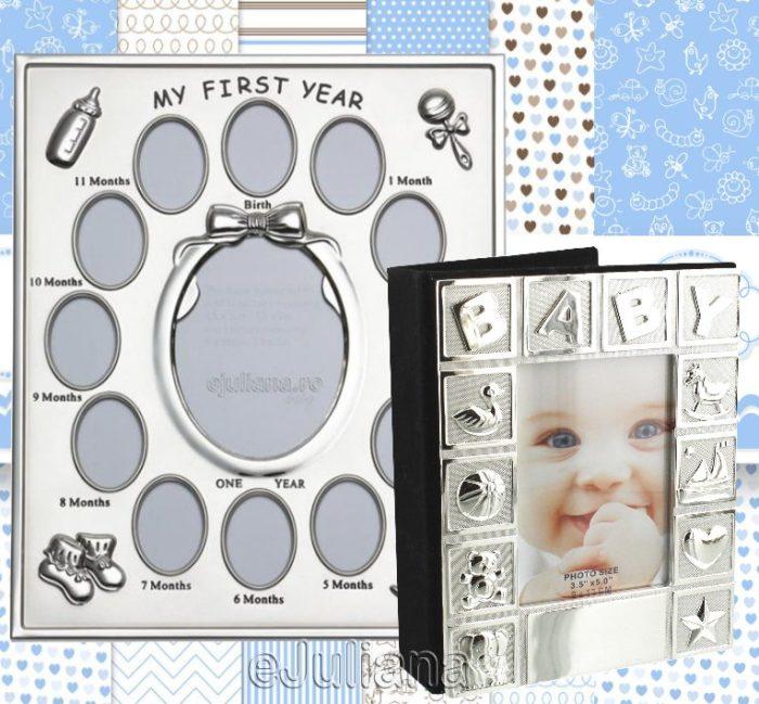 Rama pentru primul an al bebelusului si caseta de amintiri
