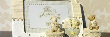 Cadou de botez din colectia Button Corner cu ursulet si iepuras