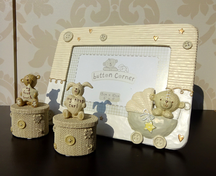 Cadou de botez pentru bebelusi cu ursulet si iepuras