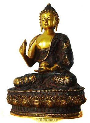 Statueta de bronz Buddha al sanatatii in lotus